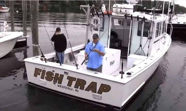 With lots of deck space Fish Trap offers anglers a comfortable and roomy platform for a Rhode Island fish catching charter trip.